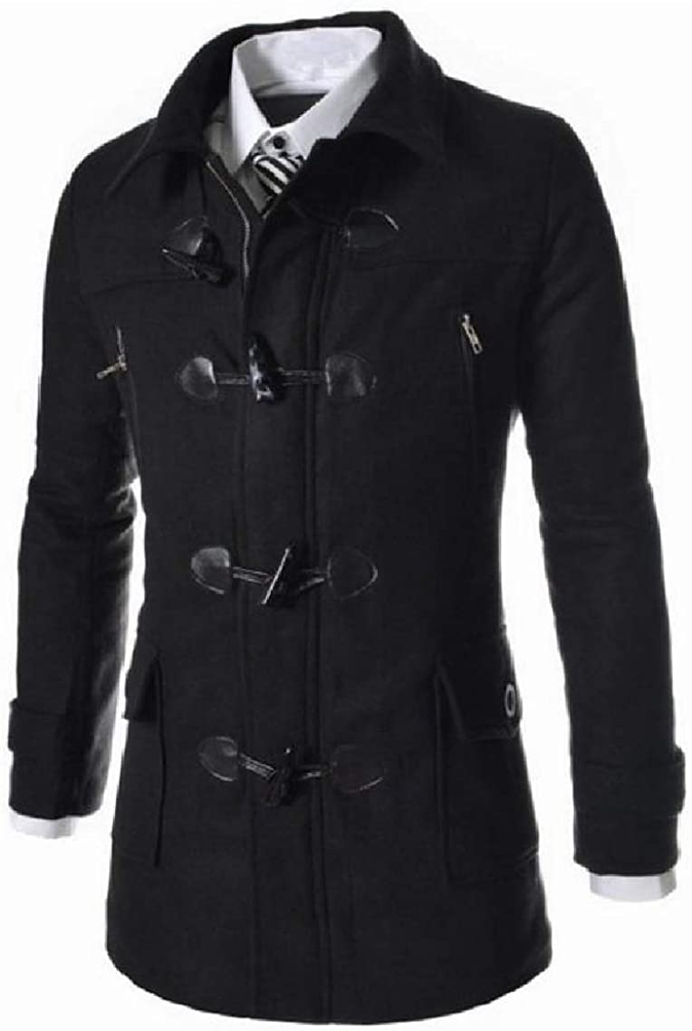 Godeyes Mens Button Up Hooded Fitted Thicken Relaxed-Fit Wool Trench Coat?