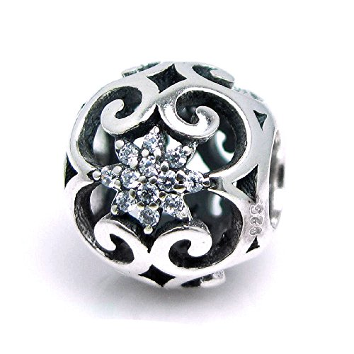 Dreambell 925 Sterling Silver Round Bali Daisy Flower Clear Cz Crystal Bead For European Charm ()