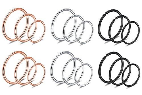 JININA Double Helix Piercing 20G Hoop Nose Rings Tragus Snug Earlobe Hoop Earrings 8mm 10mm 12mm
