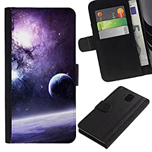 All Phone Most Case / Oferta Especial Cáscara Funda de cuero Monedero Cubierta de proteccion Caso / Wallet Case for Samsung Galaxy Note 3 III // Purple Galaxy