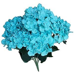 """Lily Garden 22.5"""" Silk Hydrangea 7 Stems Bouquet Flower (1, Turquoise) 60"""