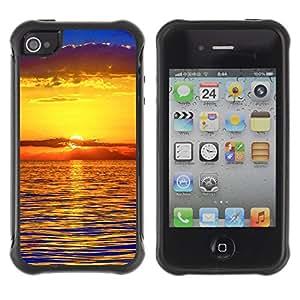 Pulsar Defender Series Tpu silicona Carcasa Funda Case para Apple iPhone 4 / iPhone 4S , Sunset Sea Beautiful Nature 22