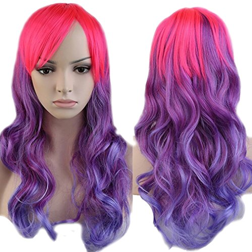 Anime Cosplay Curly Synthetic Wig Purple Ombre Pink Heat Resistant Fiber Full Wig with Bangs Long Layered Natural Wave Wavy Costume Wig Dip-dye 23'' / 58cm for Women Girls (Pink Blue Purple (Cheap Coloured Wigs)
