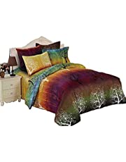 Rainbow Tree Quilt Cover Set, 3 Piece Duvet Cover Set Includes 2 Pillowcases, Doona Cover Set (King Size)