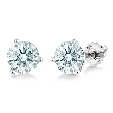 b5218d33fd505f Image Unavailable. Image not available for. Color  14K White Gold Martini  Setting Stud Earrings ...
