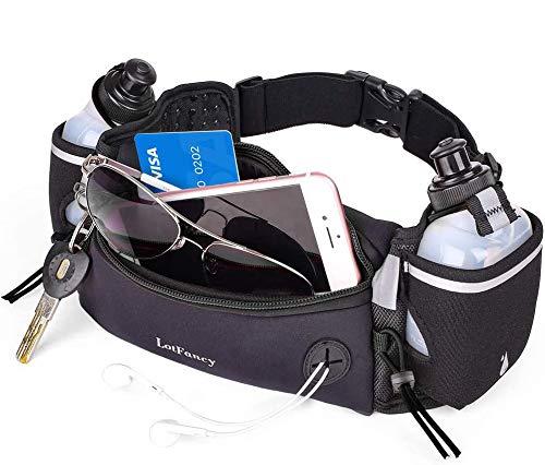 LotFancy Heuptas, drinkriem, sportriem, loopgordel met 2 drinkflessen, BPA-vrij, comfortabel en ademend, voor marathon…