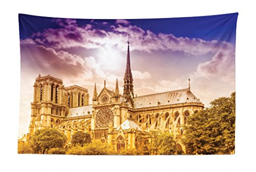 Lunarable Paris Tapestry, Notre Dame Cathedral Paris Parisian Gothic Trees Forest Sun Cloudy Sky, Fabric Wall Hanging Decor for Bedroom Living Room Dorm, 45 W X 30 L Inches, Yellow Pink Violet Blue