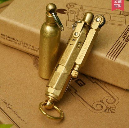 Handmade WWI WWII German Vintage Brass/Copper Trench lighter and Solid Brass fuel bottle ()