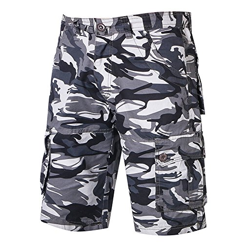 496921812d AOWEER Men Cargo Shorts Camouflage Summer Cotton Knee Loose Zipper Pockets  Outdoor Casual # Gray 33