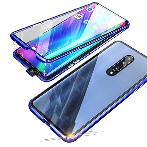 Compatible with Xiaomi Mi 9T / 9T Pro (6.39 inch) Case, Jonwelsy 360 Degree Front and Back Transparent Tempered Glass Cover, Strong Magnetic Adsorption Technology Metal Bumper (Blue)