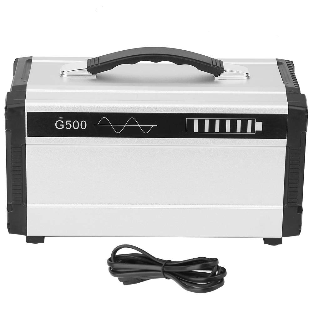 10A UPS-G500 Outdoors Portable Solar Generator Faster Charger with Power Cable, Cigarette Lighter 110-220V 500W 50/60HZ (Sliver US pllug)