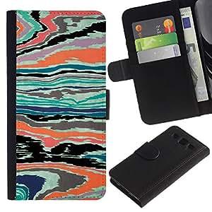 KingStore / Leather Etui en cuir / Samsung Galaxy S3 III I9300 / Textura abstracta psicodélico color