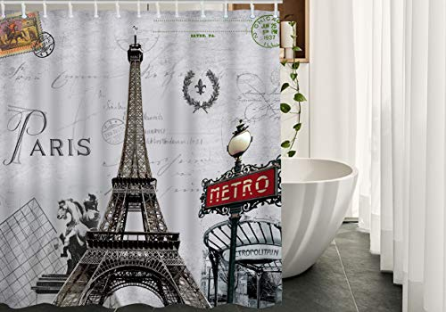 Moslion Paris Bathroom Curtains France Effiel Tower French Post Metro City Marks Horse Flower Wreath Stamp Shower Curtain Set Home Decorative Waterproof Polyester Fabric Hooks 72x84 Inch