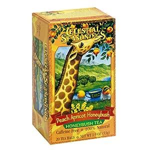 Celestial Seasonings African Tea, Peach Apricot Honeybush, Tea Bags, 20-Count Boxes (Pack of 6)