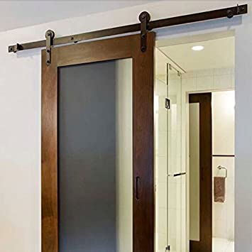 Home Hardware New Black American Country Style Sliding Door Hardware Track  Set (6FT)