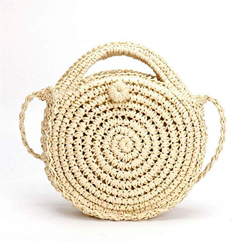 manicibiancocolorebiancomisura Beach Small Borsa The Moontang Round Woven dei Of Bag deCxBor