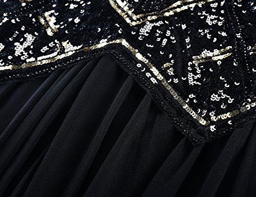 071215fb8ce Kayamiya Women s 1920s Beaded Sequin Geometric Pattern Maxi Long Gatsby  Flapper Prom Dress