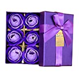 6Pcs Rose Petal Soaps Scented + Favor Gift Boxes for Valentine Wedding Birthday Gifts Party Decorations Supplies (Purple)