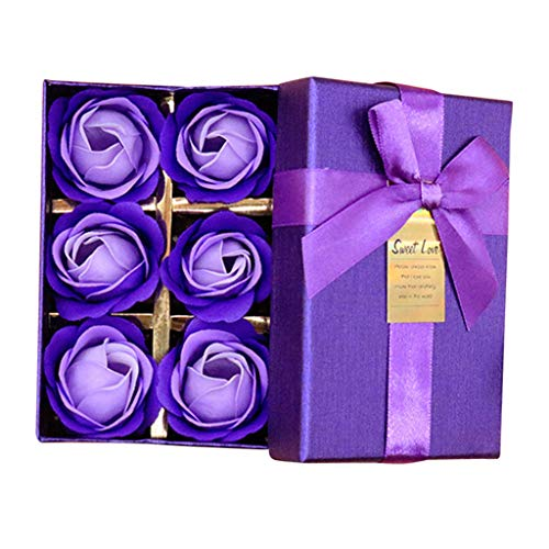 - MSOO Scented Bath Body Petal Rose Flower Soap Wedding Decoration Gift Best 6pc (Purple)