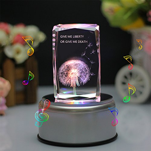 LIWUYOU Dandelion Music Box Flower Colorful Light Crystal Musical Boxes, Engraved with Text of Give Me Liberty Or Give Me Death, Bluetooth base (Give Me Liberty Or Give Me Death Text)