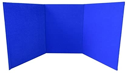 Portable Exhibition Display Boards : Portable display board tri fold a3 blue for school office