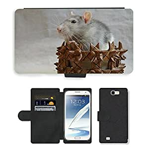 Super Stella Cell Phone Card Slot PU Leather Wallet Case // M00106334 Rat Decorative In A Basket Animal // Samsung Galaxy Note 2 II N7100