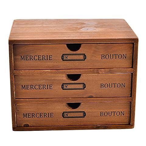 Mini Desk Organizer, Yamix Household Essentials 3-Drawer Wooden Storage Chest Box Office Desktop Drawer Organizer