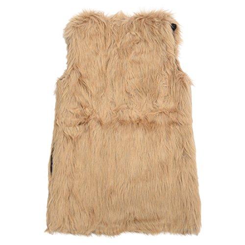 TOOGOO (R)Chaqueta de chaleco de piel sintetica de mujer Prenda sin mangas Ropa exterior media-larga Chaleco Marron M