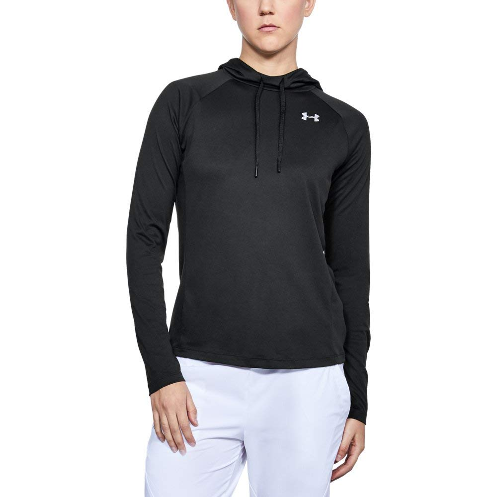 Under Armour Women's Tech 2.0 Hoodie - Solid, Black (001)/Metallic Silver, Large
