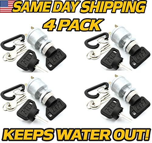 (4 Pack) EZ-GO 33639G01 Golf Cart Ignition Starter Key Switch (with Lights), Gas & Electric, 1981 & Up - 16 Keys! - HD Switch, EZGO 33639-G01
