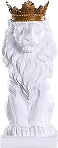 TYGJB Resin Black White Crown Lion Sculpture Statue Crafts Home Desk Decoration Geometric Resin Wild Statue Craft (White)