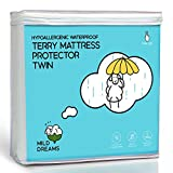 Milddreams Waterproof Mattress Protector Pad Twin - Plastic Bed Cover - Waterproof Fitted Sheet (39x75+14 inch Deep)- Vinyl Free - Hypoallergenic