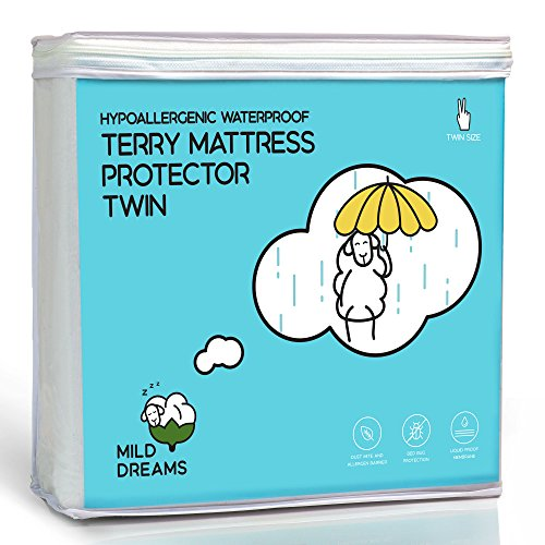 Waterproof Mattress Protector Cover Twin Size (39x75+14 inch Deep) - Plastic Bed Cover - Waterproof Fitted Sheet Cotton Terry - Vinyl Free - Hypoallergenic (Plastic Cover For Twin Bed)