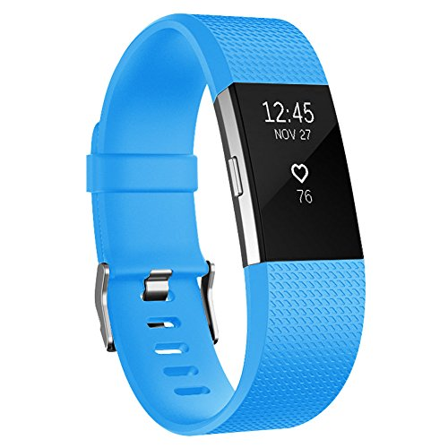 Fitbit Charge 2 Bands, Soulen Soft Accessory Replacement Wristband Strap Classic Large Small Bands Available in Varied Colors with Secure Metal Clasp for Fitbit Charge 2 (1-Pack Light Blue, - Light Blue Metal