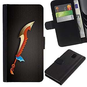 LASTONE PHONE CASE / Lujo Billetera de Cuero Caso del tirón Titular de la tarjeta Flip Carcasa Funda para Samsung Galaxy Note 3 III N9000 N9002 N9005 / Magic Sword