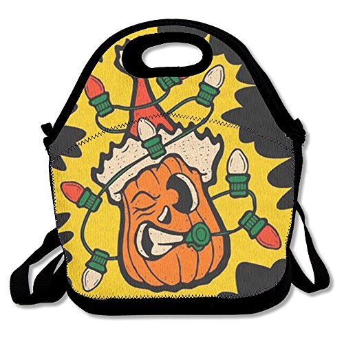 Lightweight Simple Design Lunch Pouch Bag , Best Travel Bag And Fit Gourmet Lunch Tote Box For Men Women Kids - HAPPY (Samhain Demon Halloween)