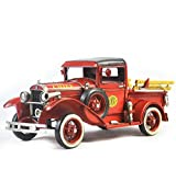 GL&G Hand made Iron art Crafts red Fire truck model High-end birthday present Home decoration bar Cafe Retro Tabletop Scenes Collectible Vehicles Ornaments Keepsakes,351415.5cm