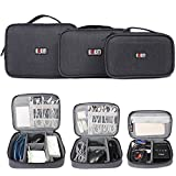 BUBM 3pcs Electronic Travel Organizer, Portable Gadget Carrying Bag Gear Storage Bag for Cables, USB Flash Drive, Battery, Adapter and More, Roomy and Compact,Black
