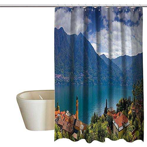 """Suchashome Modern Shower Curtain with Hooks Mountain Village on The Hills Como Lake Italian Town European Mediterranean Scenery Non Toxic, Eco-Friendly 55"""" Wx84 L Multicolor"""