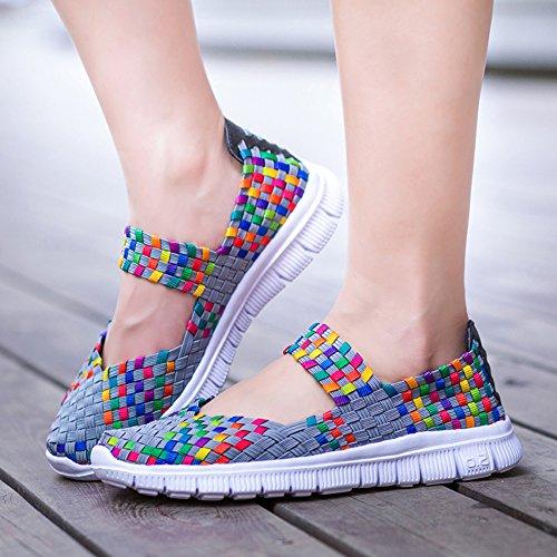 L LOUBIT Women Sneakers Slip On Woven Flats Lightweight Walking Shoes Mulit Grey y0L5otyy