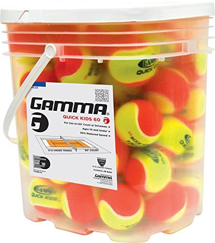 Gamma Sports Quick Kid's 60 Tennis Balls (48 Ball Bucket)