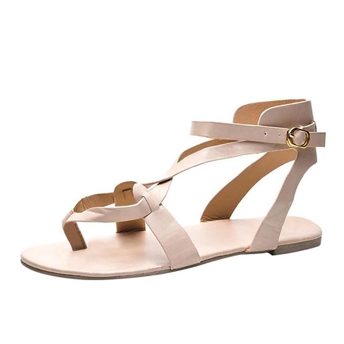 Sandalias mujer verano 2018, Covermason Las sandalias de las señoras cruzan los zapatos casuales de la correa romana: Amazon.es: Ropa y accesorios