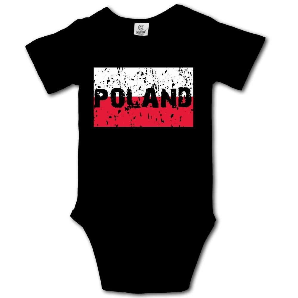 HFJFJSZ Distressed Poland Flag Polish Short Sleeve Baby Bodysuit Onesies