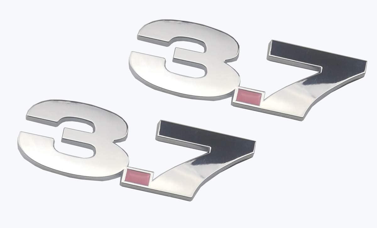 Black 2pcs 3.7 Fender Side Boot Emblem Badge Decal Sticker Compatible for Mustang
