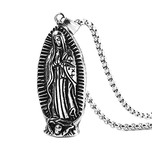 HZMAN Stainless Steel Blessed Mother Mary - Our Lady of Guadalupe Pendant Necklace (Silver)
