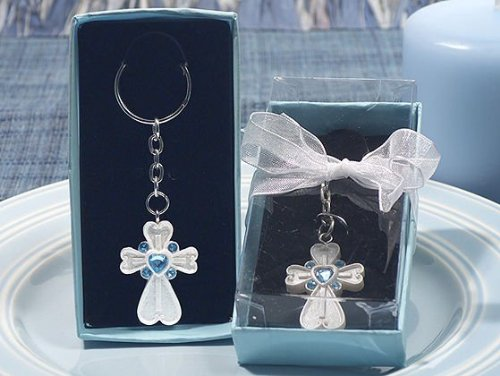 Cross Key Ring - White Cross Keychain with Blue Crystals