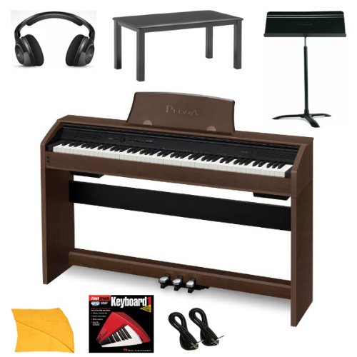 Casio PX750 Brown Digital Piano Bundle With Casio CB7BK Furniture Style Bench, Headphones, Hal Leonard Instructional Book, Instrument Cables, Polishing Cloth & Heavy Duty Music Stand