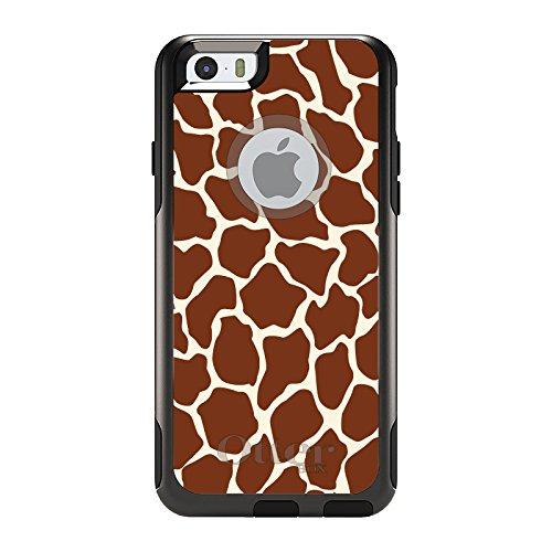 (DistinctInk Case for iPhone 6 Plus / 6S Plus - OtterBox Commuter Black Custom Case - Brown Tan Beige Giraffe Skin Spots - Animal)