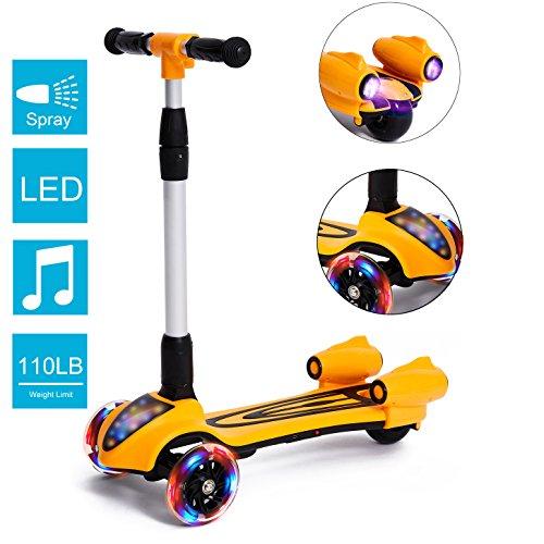 MammyGol Kick Scooters for Kids,Adjustable Handle  Folding LED Spray Jet Scooter, 3 wheeled, 110lb Weight Limit, age 3- 8 (Orange)