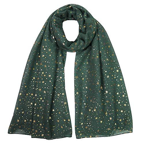 Lina & Lily Silver Gold Glitters Shimmer Foil Stars Women Scarf Shawl Wrap (Dark Green (gold stars))